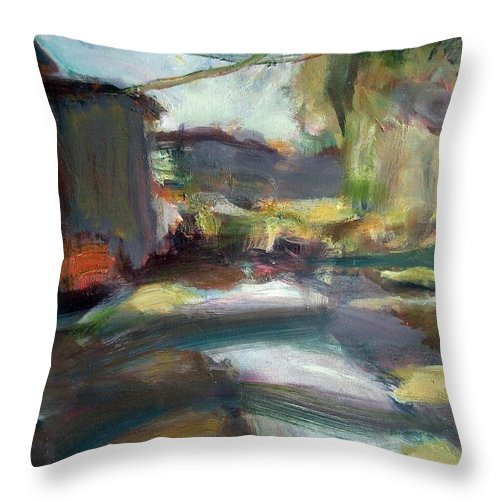 Dornberg Throw Pillow featuring the painting The Path by Bob Dornberg