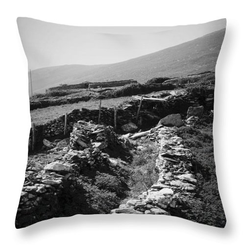 Irish Throw Pillow featuring the photograph The Path To The Beehive Huts In Fahan Ireland by Teresa Mucha