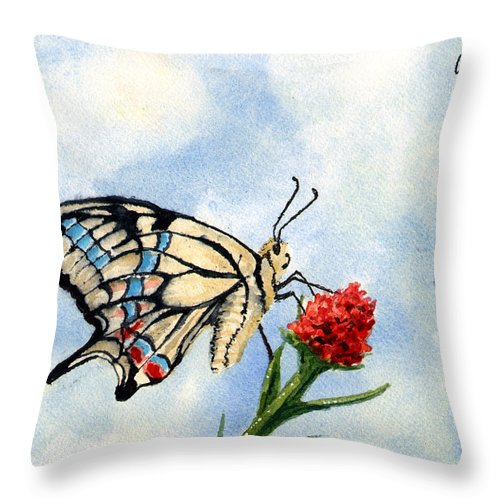 Butterfly Throw Pillow featuring the painting The Patriot by Sam Sidders