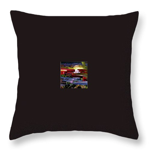 Shadows And Sunlight Across Water Lilies. Throw Pillow featuring the painting The Patterns Of Beauty by John Lautermilch