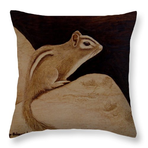 Pyrography; Woodburning; Sepia; Chipmunk; Rock; Throw Pillow featuring the pyrography The Pause by Jo Schwartz