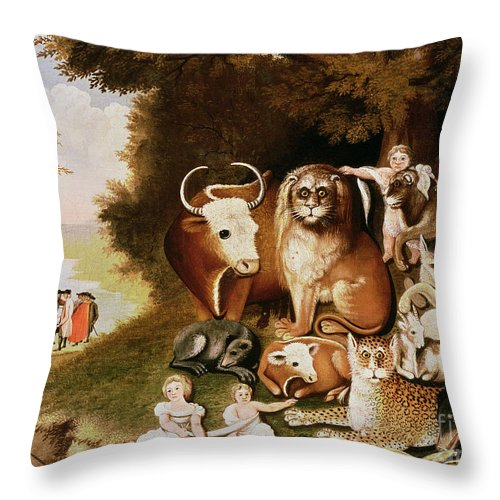 The Throw Pillow featuring the painting The Peaceable Kingdom by Edward Hicks