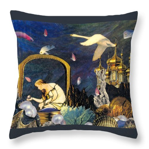 Surealism Throw Pillow featuring the mixed media The Pearl Of Great Price by Gail Kirtz