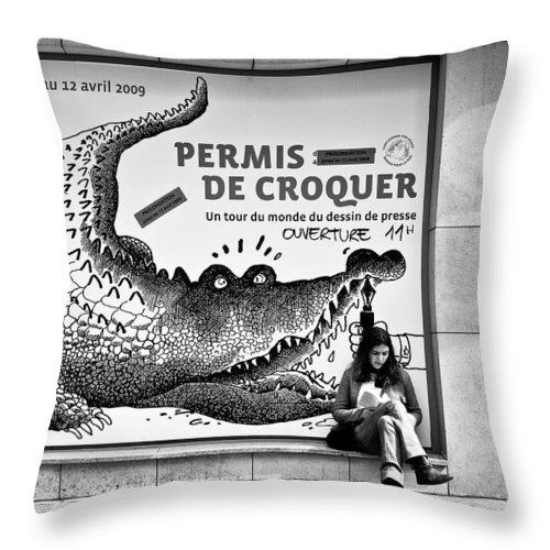 Street Photography Throw Pillow featuring the photograph The Pen Is Mightier Than... by Dave Bowman