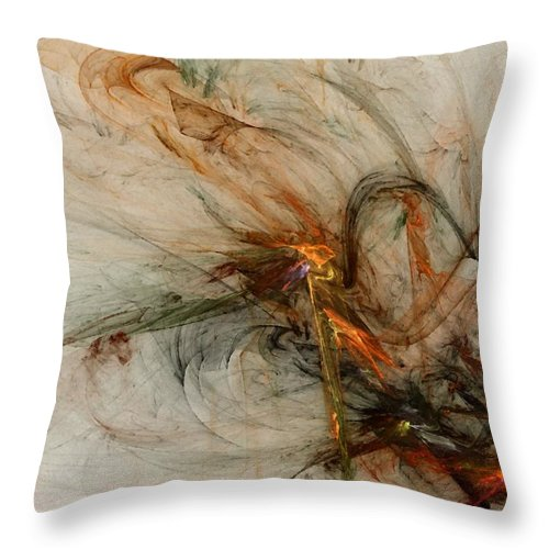 Nonrepresentational Throw Pillow featuring the digital art The Penitent Man - Fractal Art by NirvanaBlues