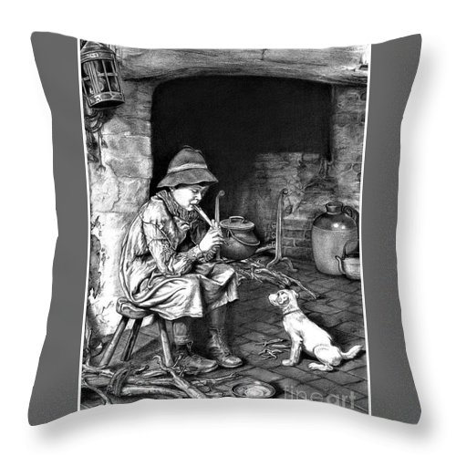 Penny Whistle Player Throw Pillow featuring the drawing The Penny Whistle by Ronald Osborne