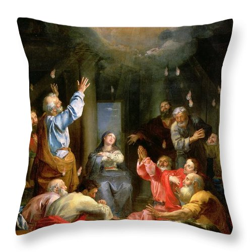 The Pentecost (oil On Canvas) Dove; Prayer; Adoration; Wonder; Virgin Mary; Madonna; La Pentecote; Faith Throw Pillow featuring the painting The Pentecost by Louis Galloche