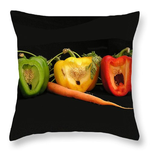 Pepper Throw Pillow featuring the photograph The Pepper Trio by Carol Milisen