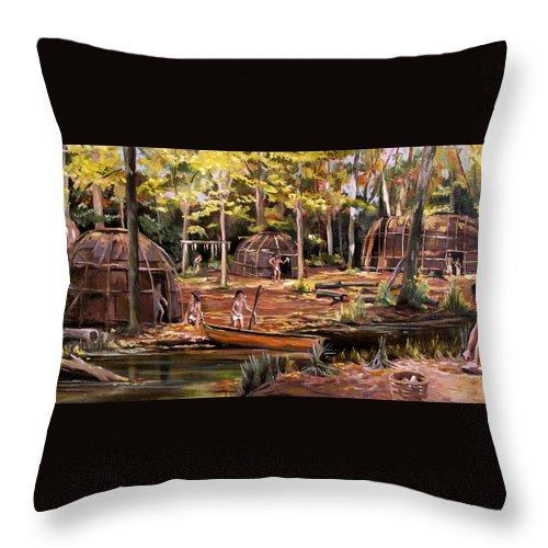 Institute Of American Indian Throw Pillow featuring the painting The Pequots by Nancy Griswold