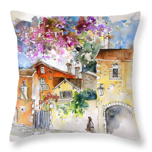 France Paintings Throw Pillow featuring the painting The Perigord In France by Miki De Goodaboom