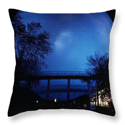 Perisphere Throw Pillow featuring the photograph The Perisphere At Night by David Halperin