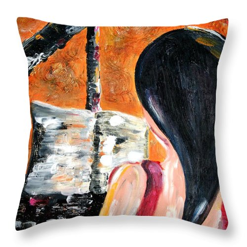 Piano Throw Pillow featuring the painting The Pianist by Maryn Crawford