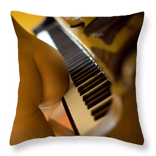 Sensual Throw Pillow featuring the photograph The Piano by Olivier De Rycke