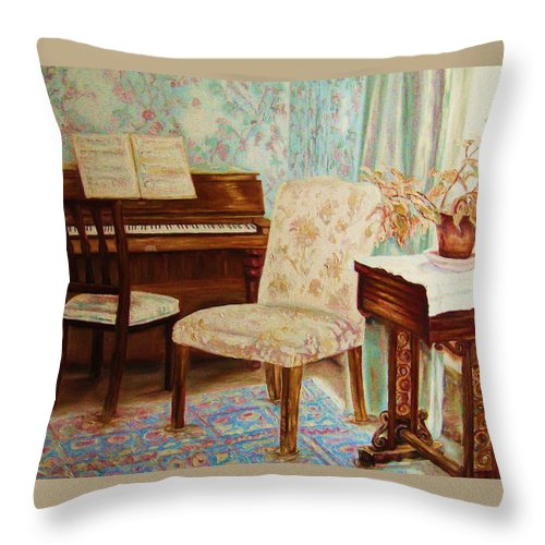 Iimpressionism Throw Pillow featuring the painting The Piano Room by Carole Spandau