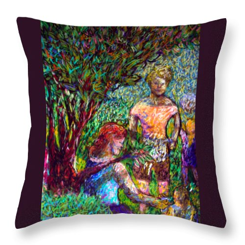 Picnic Throw Pillow featuring the painting The Picnic by Angelina Marino