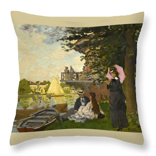 Claude Monet Throw Pillow featuring the painting The Pier by Claude Monet