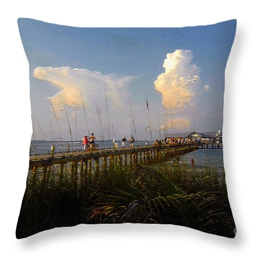 Pier Throw Pillow featuring the photograph The Pier On Anna Maria Island by David Lee Thompson