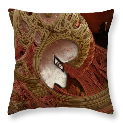 Warrior Darkness Loneliness Eyes Shield Throw Pillow featuring the digital art The Pilgrim by Veronica Jackson