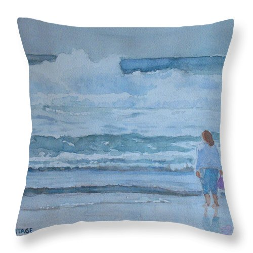 Bucket Throw Pillow featuring the painting The Pink Bucket by Jenny Armitage
