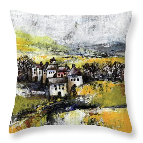 Landscape Throw Pillow featuring the painting The pink house by Aniko Hencz