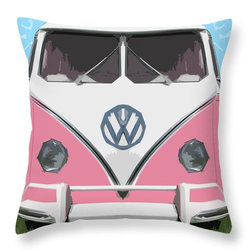 Automobile Throw Pillow featuring the digital art The Pink Love Bus by Bruce Stanfield