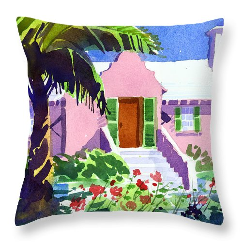 Bermuda Throw Pillow featuring the painting The Pink Palace by Lee Klingenberg
