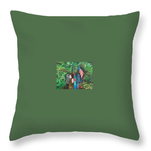 Red Bar Throw Pillow featuring the painting The Place by Racquel Morgan