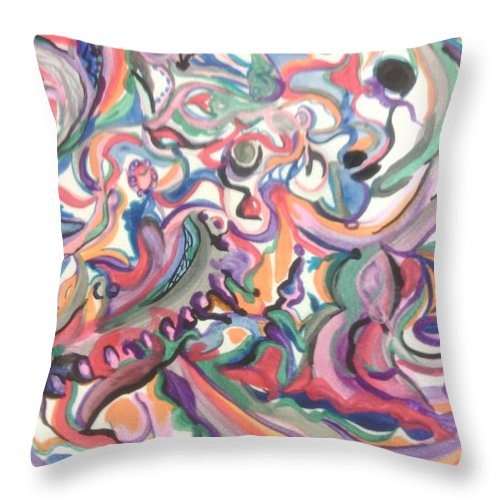 Throw Pillow featuring the painting The Plan by Subbora Jackson
