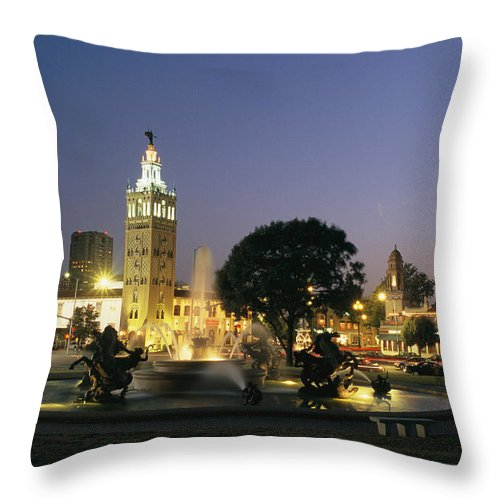 North America Throw Pillow featuring the photograph The Plaza In Kansas City, Mo, At Night by Michael S. Lewis