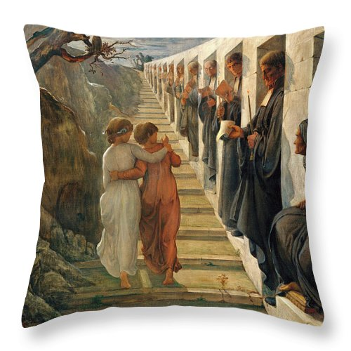 The Poem Of The Soul Throw Pillow featuring the painting The Poem Of The Soul - The Wrong Path by Louis Janmot