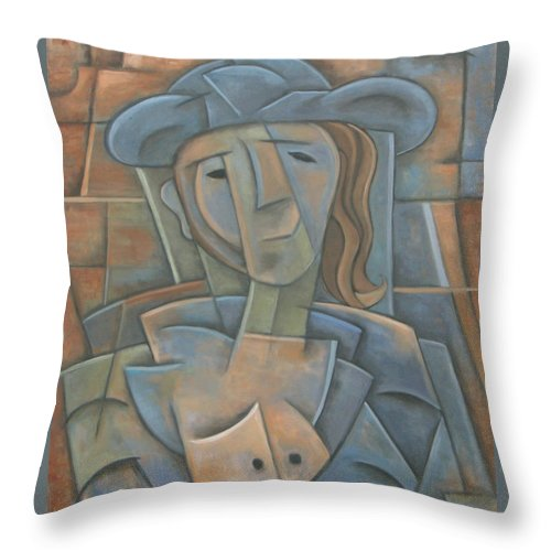 Cubism Throw Pillow featuring the painting The Poet by Trish Toro