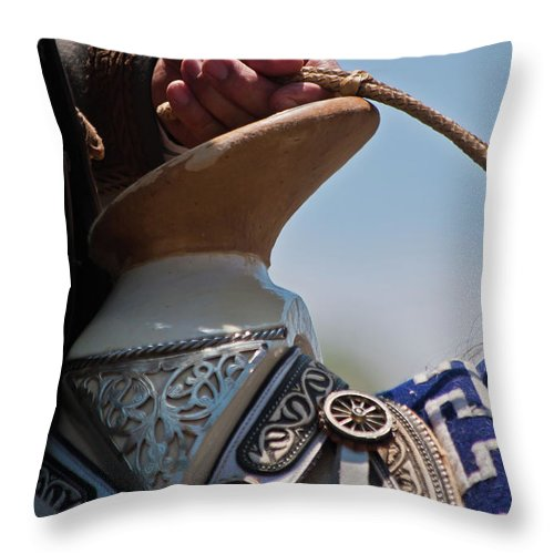 Rodeo Throw Pillow featuring the photograph The Pommel by Roger Mullenhour