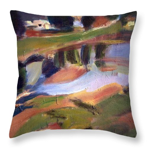Dornberg Throw Pillow featuring the painting The Pond by Bob Dornberg