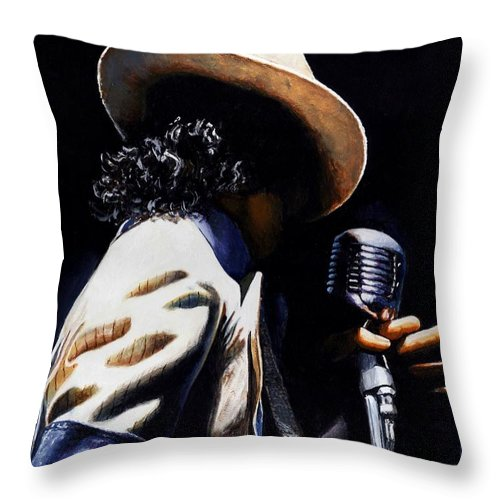 Portrait Throw Pillow featuring the painting The Pop King by Emerico Imre Toth