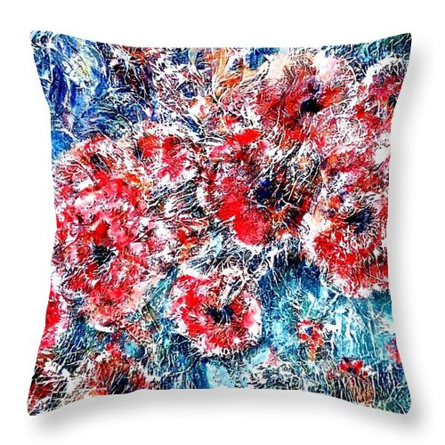 Poppies Throw Pillow featuring the painting The Poppies by Norma Boeckler