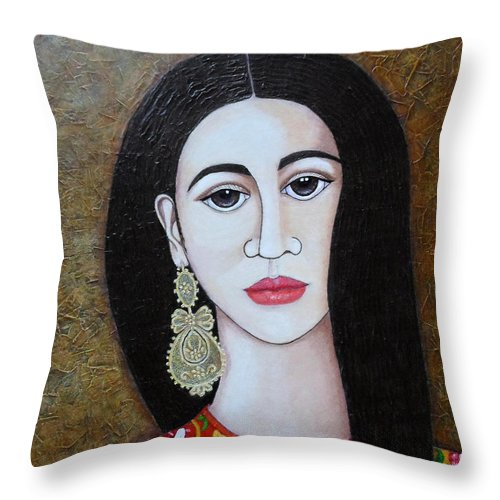 Woman Throw Pillow featuring the painting The Portuguese Earring 2 by Madalena Lobao-Tello