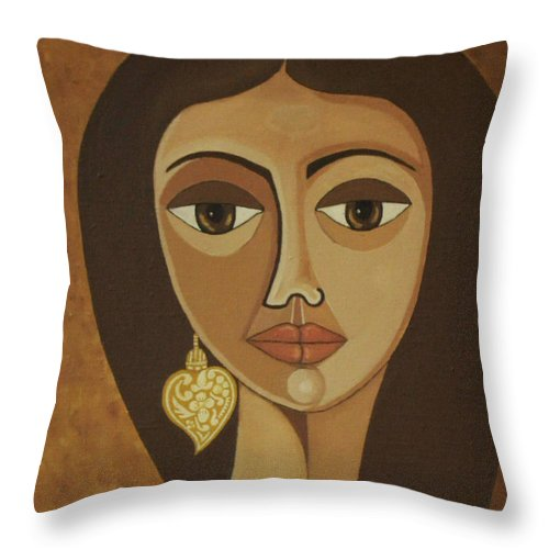 Portuguese Throw Pillow featuring the painting The Portuguese Earring by Madalena Lobao-Tello