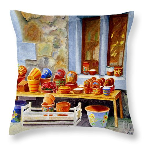Shop Throw Pillow featuring the painting The Pottery Shop by Karen Fleschler