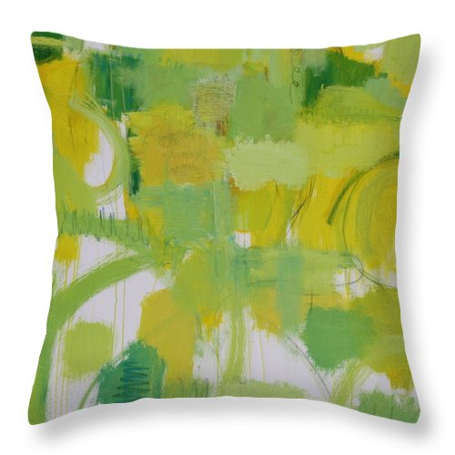 Abstract Throw Pillow featuring the painting The Power Of Green by Habib Ayat