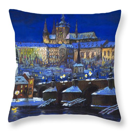 Prague Throw Pillow featuring the painting The Prague Panorama by Yuriy Shevchuk