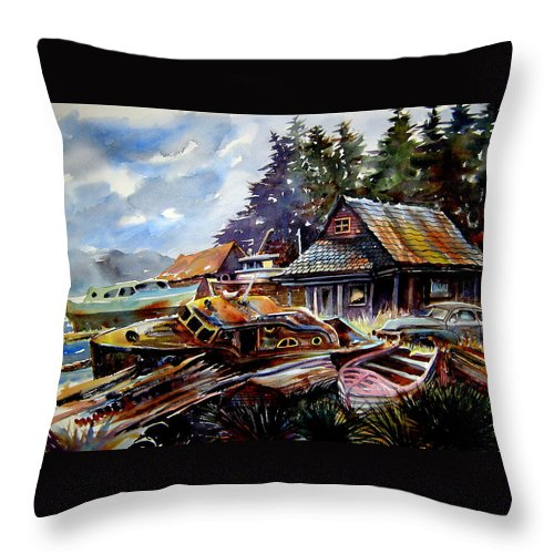 Boats Throw Pillow featuring the painting The Preserve Of Captain Flood by Ron Morrison