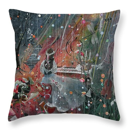 Fantasy Throw Pillow featuring the painting The Princess Jareeta by Jackie Mueller-Jones