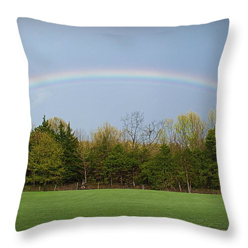 Rainbow Throw Pillow featuring the photograph The Promise by Cricket Hackmann