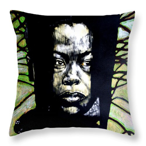 Portraits Throw Pillow featuring the mixed media The Promise Of Spring by Chester Elmore