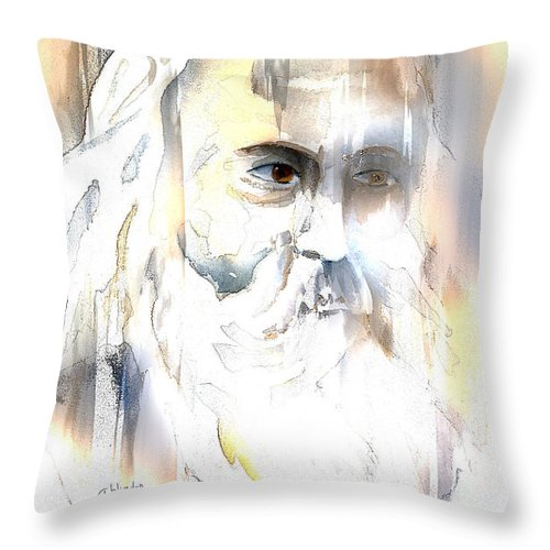 Old Man Throw Pillow featuring the mixed media The Prophet by Arline Wagner