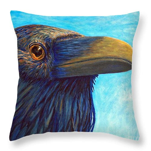 Raven Throw Pillow featuring the painting The Prophet by Brian Commerford