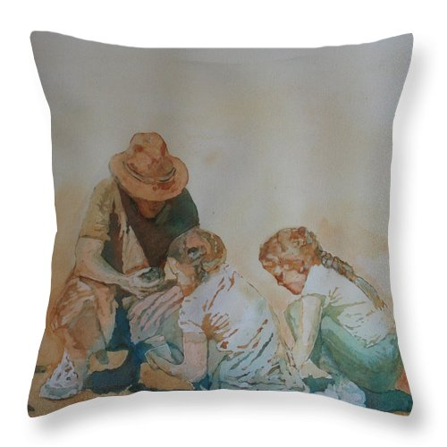 Fathers Throw Pillow featuring the painting The Pumice Seekers by Jenny Armitage