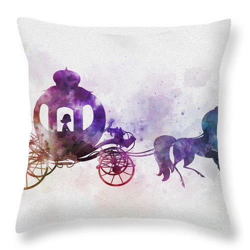 Cinderella Throw Pillow featuring the mixed media The Pumpkin Coach by My Inspiration