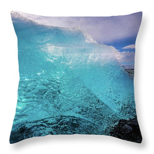 Glacier Throw Pillow featuring the photograph The Pure Blue by Jean-Claude Ardila