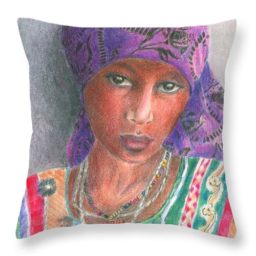 Purple Throw Pillow featuring the drawing The Purple Scarf by Arline Wagner